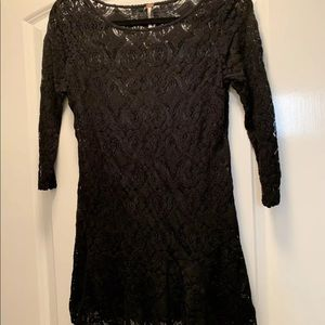Free People Black Lace Tunic Dress